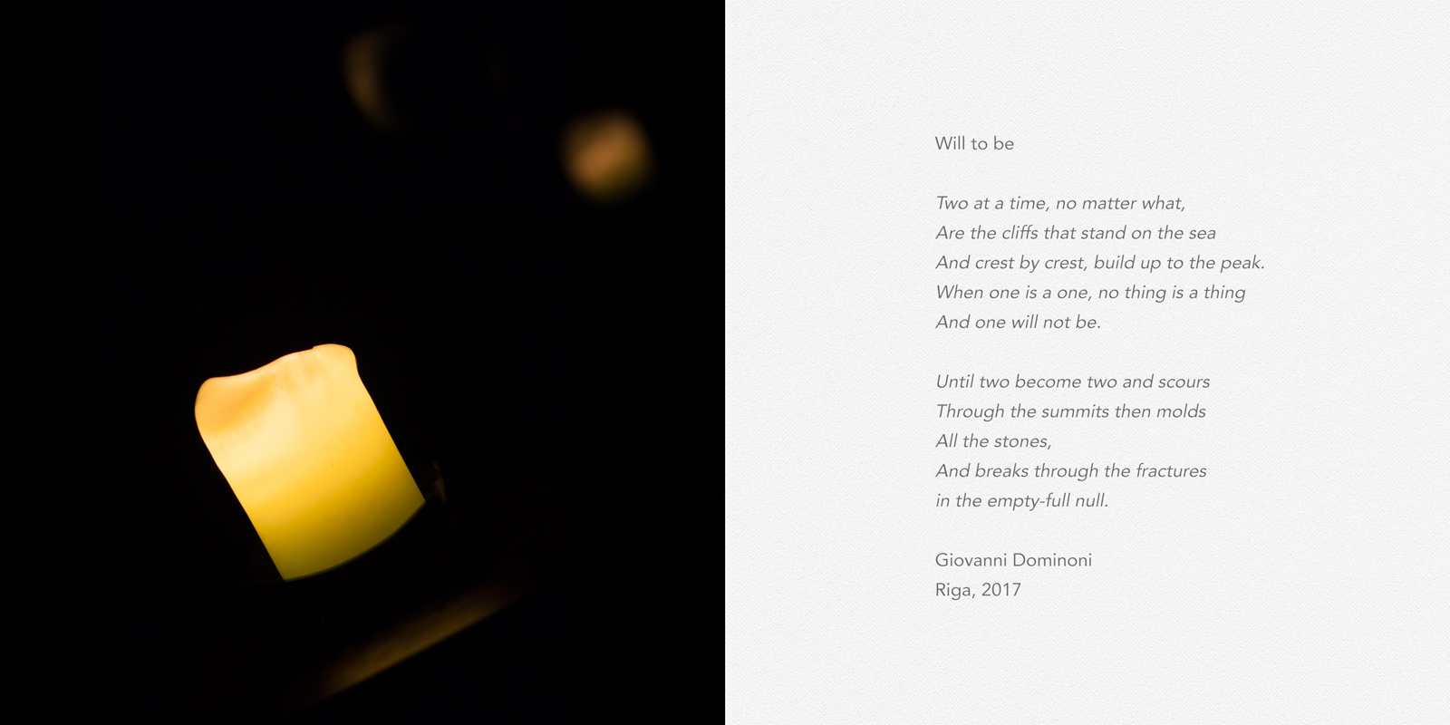 Giovanni Dominoni, Will to Be, low-light photograph and a poem